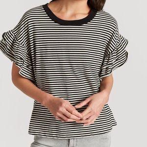 Current Elliott Carina Black White Stripe Top L